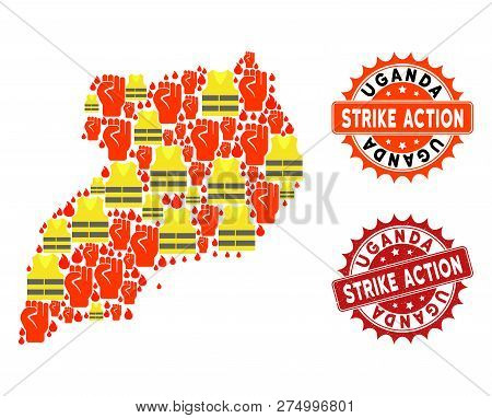 Strike Action Collage Of Revolting Map Of Uganda, Grunge And Clean Seal Stamps. Map Of Uganda Collag