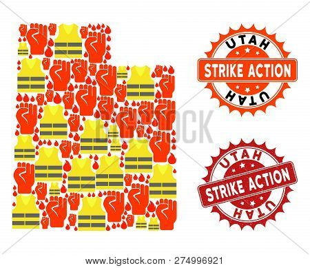 Strike Action Collage Of Revolting Map Of Utah State, Grunge And Clean Seal Stamps. Map Of Utah Stat