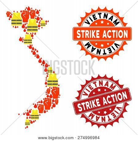 Strike Action Collage Of Revolting Map Of Vietnam, Grunge And Clean Seal Stamps. Map Of Vietnam Coll