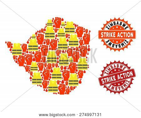 Strike Action Collage Of Revolting Map Of Zimbabwe, Grunge And Clean Seal Stamps. Map Of Zimbabwe Co