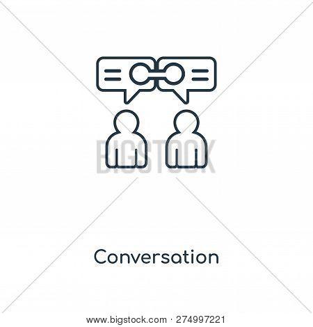 Conversation Icon In Trendy Design Style. Conversation Icon Isolated On White Background. Conversati