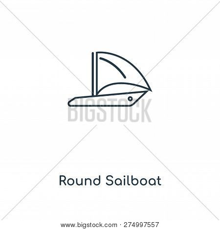 Round Sailboat Icon In Trendy Design Style. Round Sailboat Icon Isolated On White Background. Round