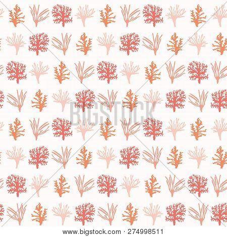 Vector Living Coral Marine Specimen Seamless Pattern