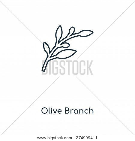 Olive Branch Icon In Trendy Design Style. Olive Branch Icon Isolated On White Background. Olive Bran