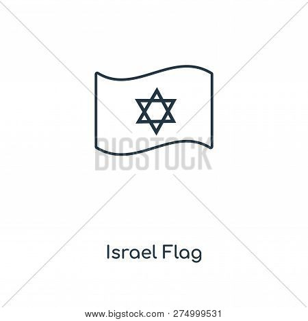 Israel Flag Icon In Trendy Design Style. Israel Flag Icon Isolated On White Background. Israel Flag
