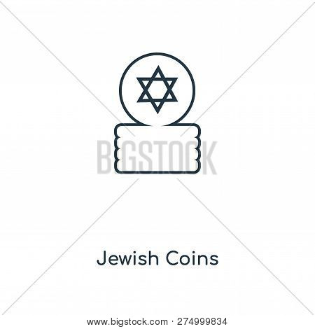 Jewish Coins Icon In Trendy Design Style. Jewish Coins Icon Isolated On White Background. Jewish Coi