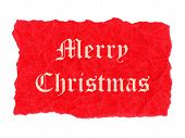Merry Christmas label on red creased paper parchment poster