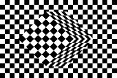 black and white cube optical illusion vector poster