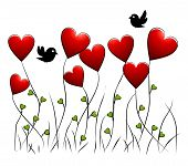 Flowers - romantic floral background with birds and hearts poster
