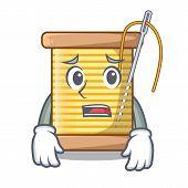 Afraid thread bobbin isolated on a mascot poster