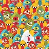Crazy eggs monsters seamless pattern. Vector texture for your background. poster