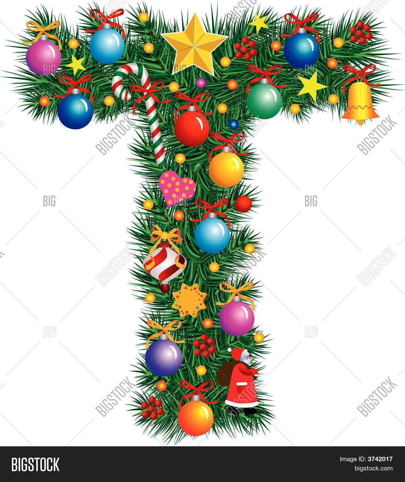 alphabet letter t christmas decoration