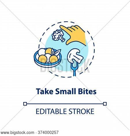 Take Small Bites Concept Icon. Mindful Eating, Conscious Nutrition Idea Thin Line Illustration. Enjo