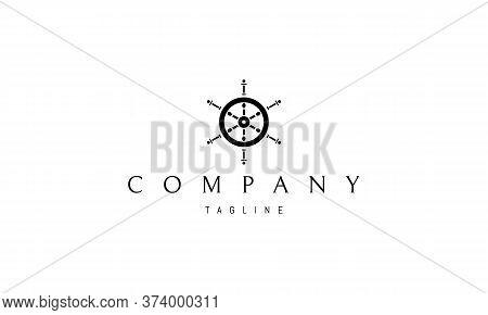 Vector Logo On Which An Abstract Image Of An Old Wooden Helm.