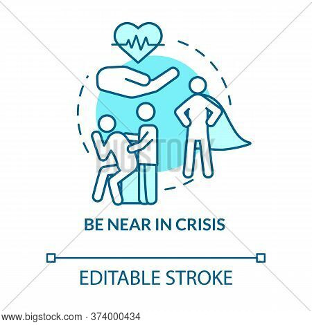 Be Near In Crisis Concept Icon. Friend Difficult Times And Troubles. Sad Mate Comforting And Encoura