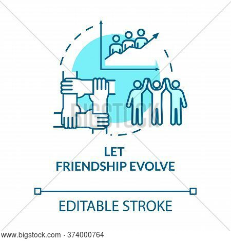Let Friendship Evolve Concept Icon. Social Interactions, Communication And Personal Skill. Relations