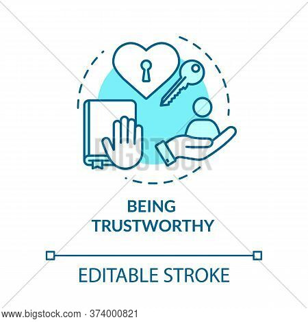 Being Trustworthy Concept Icon. People Secrets Keeping. Being Loyal, Dependable And Faithful Idea Th