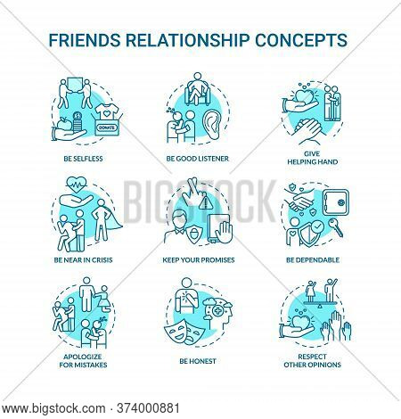 Best Friends Relationship Concept Icons Set. Friendship Advices. Dependable, Honest And Selfless Ide