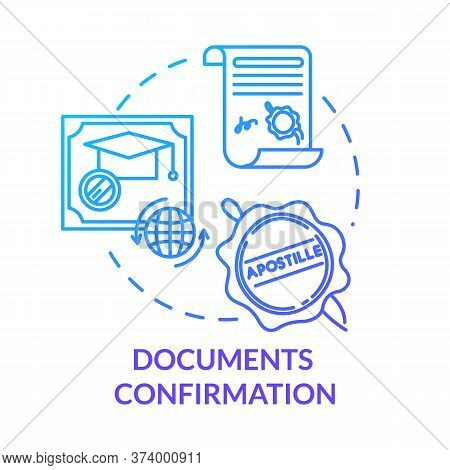 Document Confirmation Blue Concept Icon. Check Quality Of Report. Common Law Paperwork. Approved Cer