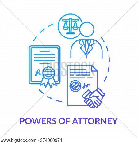 Powers Of Attorney Blue Concept Icon. Personal Affair. Legal Representative. Seal Business Deal With