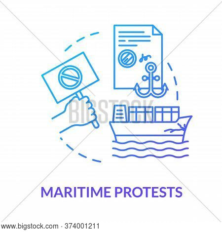 Maritime Protest Blue Concept Icon. Freight Protection. Cargo Damage. Notarized Paper. Collision, Pr