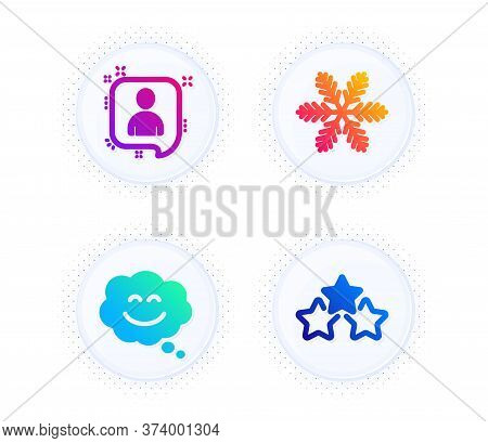 Developers Chat, Smile Chat And Snowflake Icons Simple Set. Button With Halftone Dots. Ranking Stars