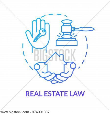 Real Estate Law Blue Concept Icon. Justice For Owners. Selling House. Property Ownership. Resident B