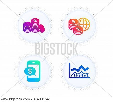Banking Money, Phone Payment And World Money Icons Simple Set. Button With Halftone Dots. Trade Info