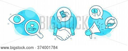 Pay, Pay Money And Restaurant Food Line Icons Set. Handshake Deal, Research And Promotion Complex Ic