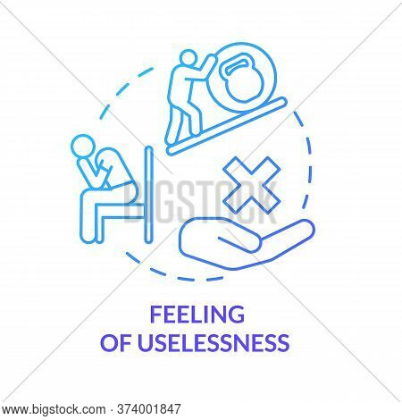 Feeling Of Uselessness Blue Concept Icon. Employee With Low Self-esteem. Loneliness And Solitude. Bu