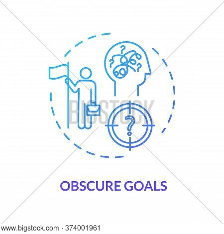 Obscure Goals Blue Concept Icon. Problem Solving. Chaos In Direction. Complicated Task. Unclear Targ