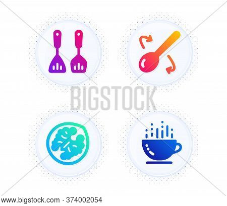 Cooking Spoon, Cooking Cutlery And Walnut Icons Simple Set. Button With Halftone Dots. Coffee Cup Si