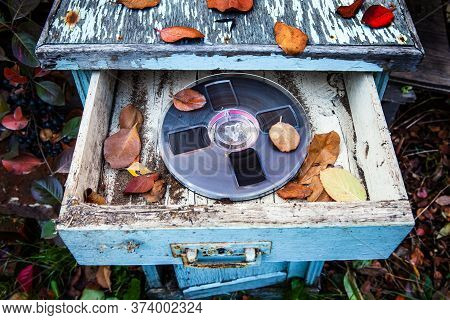 Reel To Reel Tape In The Old Wardrobe And Dirty Furniture