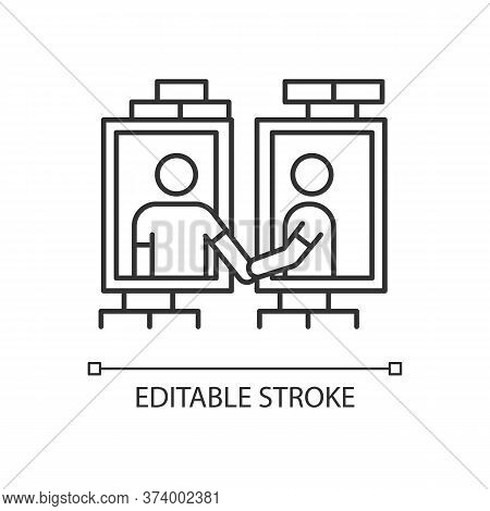 Neighbors In Window Frames Pixel Perfect Linear Icon. Dormitory Mates Relationship. Dormmates. Thin