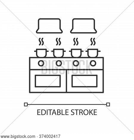 Communal Kitchen Pixel Perfect Linear Icon. Common Dormitory Room. Cooking. Casseroles On Stove. Thi