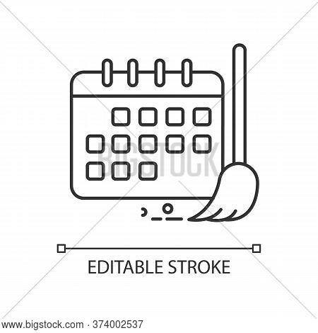 Cleaning Schedule Pixel Perfect Linear Icon. Household Chores. Calendar. Cleanliness Control. Thin L