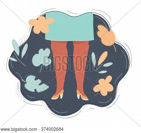 Vector Illustration Of Female Hairy Legs Isolated On Dark Background.