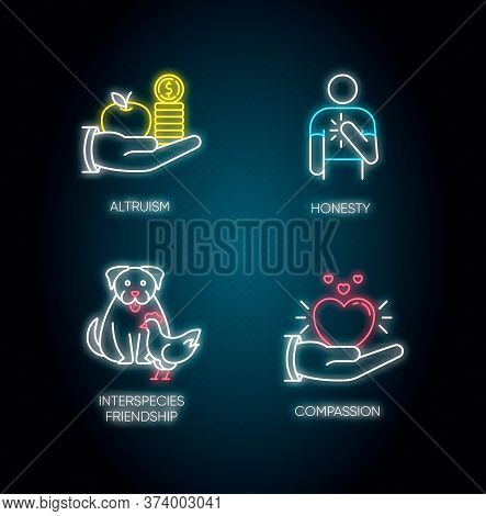 Friendly Support Neon Light Icons Set. Signs With Outer Glowing Effect. Interpersonal Relationship.
