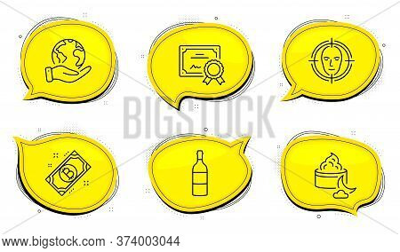Face Detect Sign. Diploma Certificate, Save Planet Chat Bubbles. Wine Bottle, Bitcoin And Night Crea