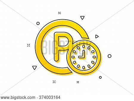 Car Park Clock Sign. Parking Time Icon. Transport Place Symbol. Yellow Circles Pattern. Classic Park