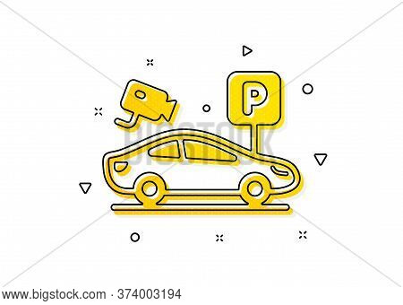 Car Park Sign. Parking With Video Monitoring Icon. Transport Place Symbol. Yellow Circles Pattern. C