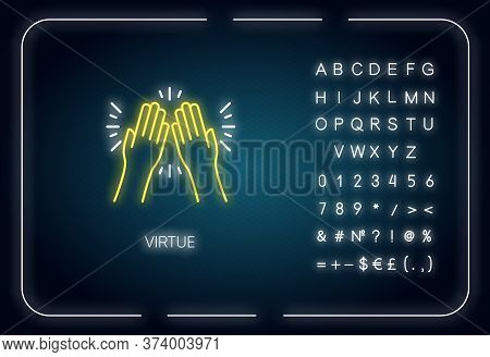 Virtue Neon Light Icon. Outer Glowing Effect. Sign With Alphabet, Numbers And Symbols. Selfless Care