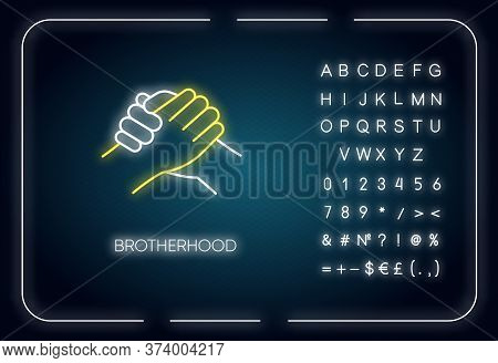 Brotherhood Neon Light Icon. Outer Glowing Effect. Sign With Alphabet, Numbers And Symbols. Together