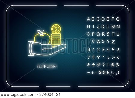 Altruism Neon Light Icon. Outer Glowing Effect. Sign With Alphabet, Numbers And Symbols. Selfless Gi