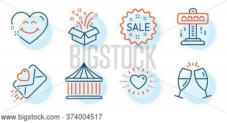 Champagne Glasses, Heart And Love Letter Signs. Attraction, Carousels And Gift Line Icons Set. Sale,
