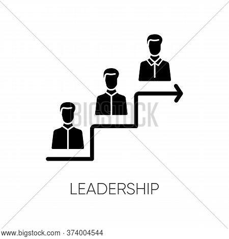 Leadership Black Glyph Icon. Career Development, Success Achievement Silhouette Symbol On White Spac