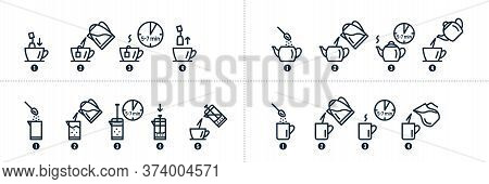 Tea, Coffee Making, Brew Process Icons. Hot Drink Brew