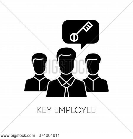 Key Employee Black Glyph Icon. Most Valuable Worker, Successful Team Leader. Human Resources Managem