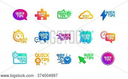 Helpful Tricks, Solution And Quickstart Guide. Quick Tips Icons. Tutorial Classic Icon Set. Gradient