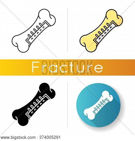 Repaired Bone Icon. Internal Fixation. Surgery. Surgical Procedure. Orthopedic Operation. Medical In